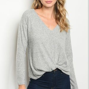 Gray neck knotted front tunic knit top.